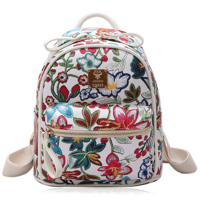 Faux Leather Floral Backpack - WHITE