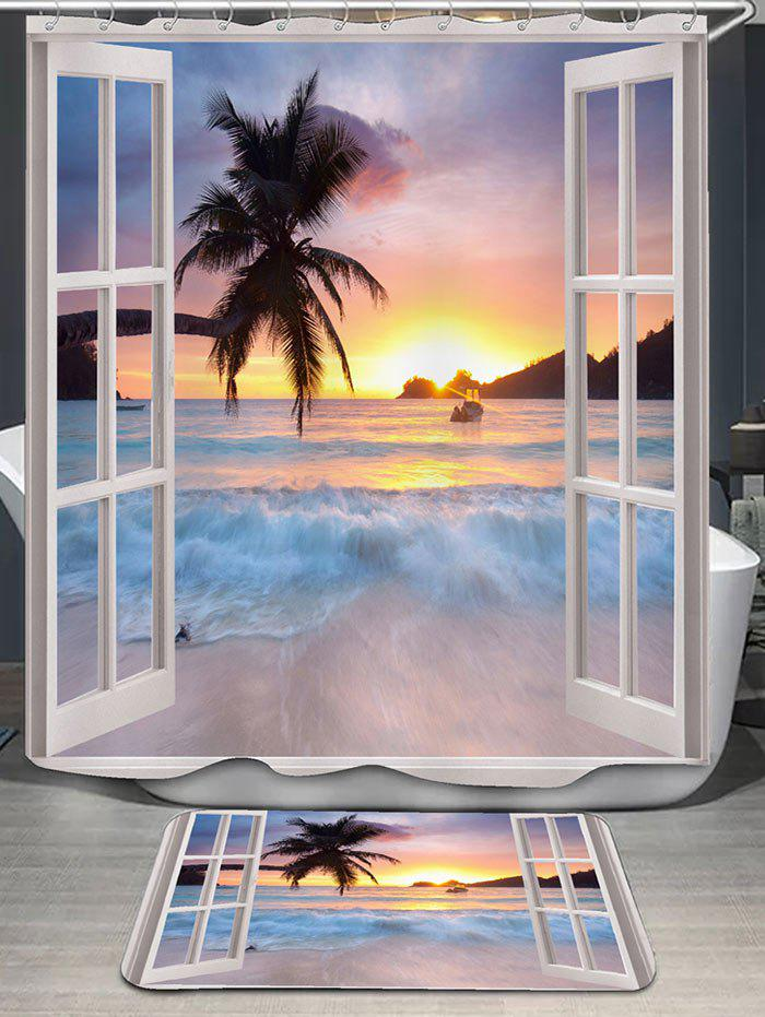 2018 Window Scenery Pattern Shower Curtain And Rug