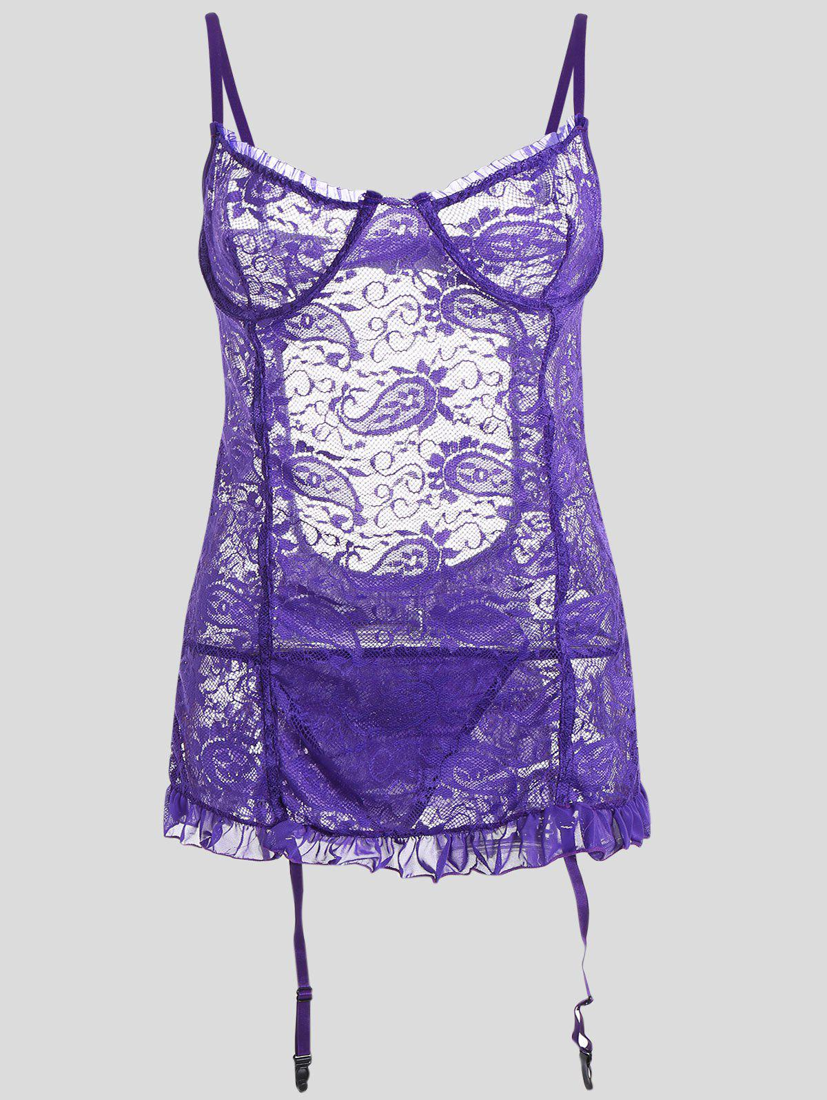 Lace Sheer Plus Size Slip Babydoll - Violet Clair 5XL
