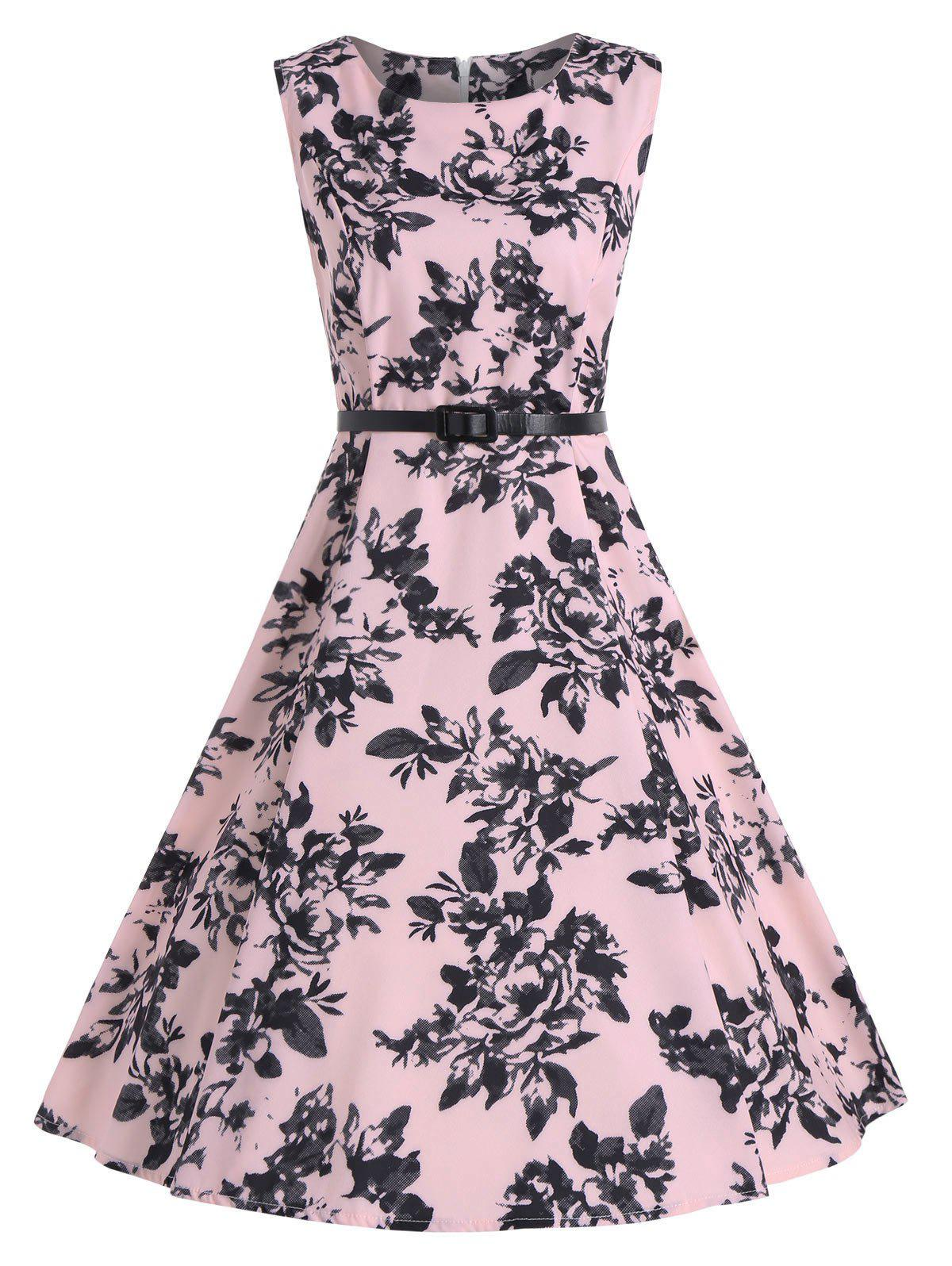 Sleeveless Vintage Print A Line Party Dress - PINK 2XL