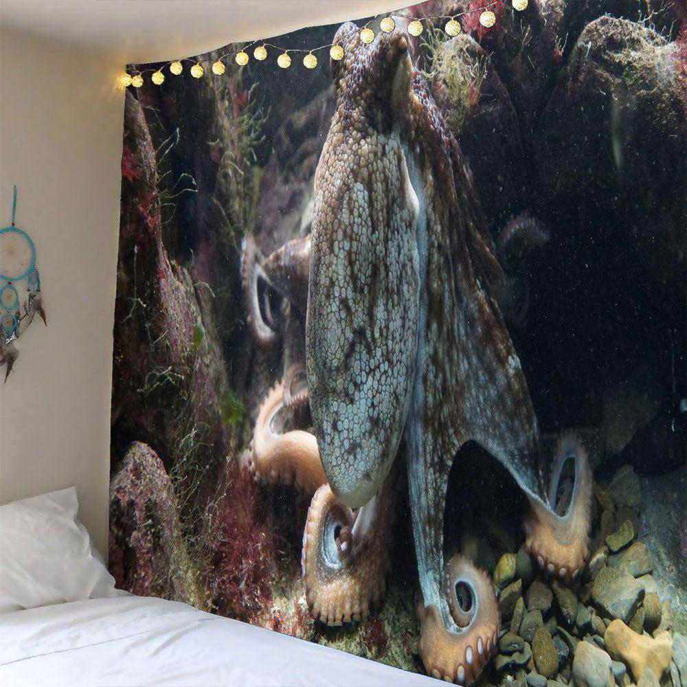 Ocean Octopus Waterproof Wall Art Tapestry - GRAY W79 INCH * L59 INCH