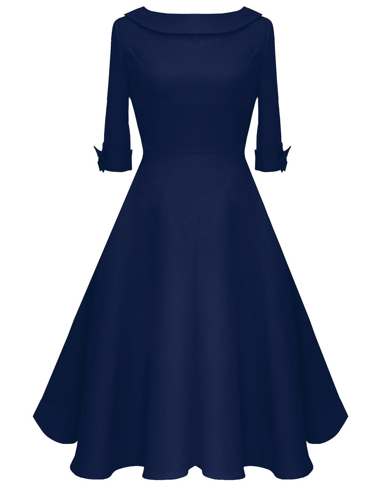 Vintage Bowknot Mid Calf Dress - DEEP BLUE L