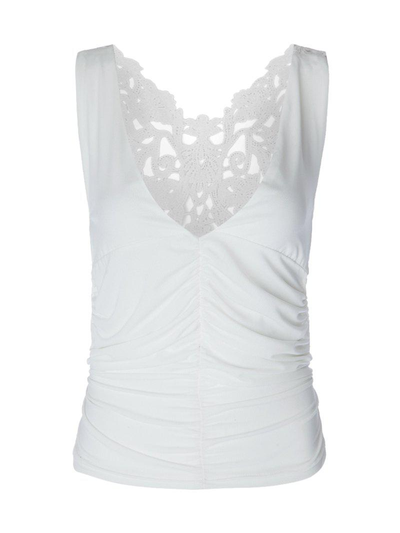 V Neck Ruched Lace Tank Top - WHITE ONE SIZE