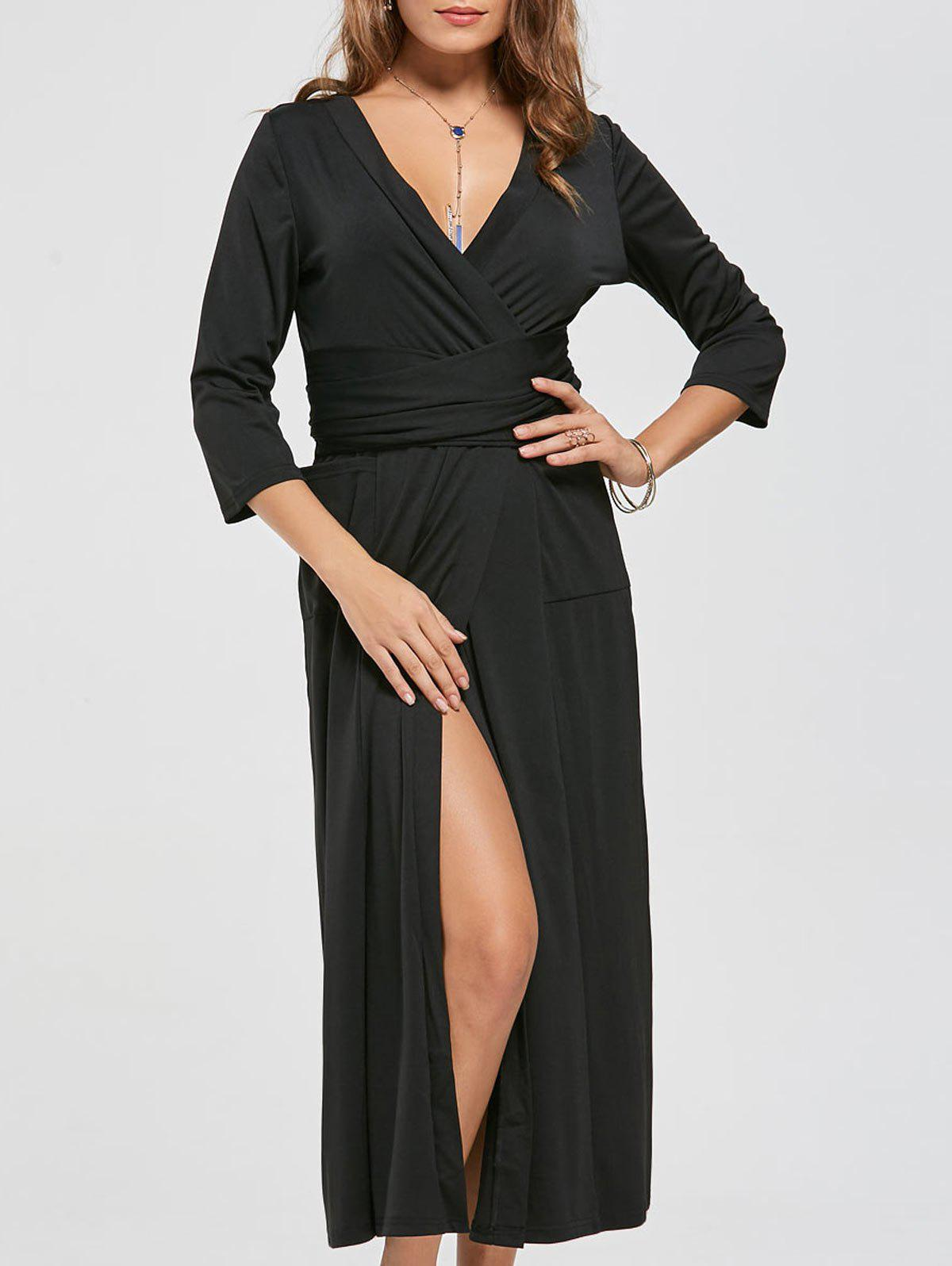 V Neck Pockets High Slit Midi Surplice Dress - BLACK 2XL