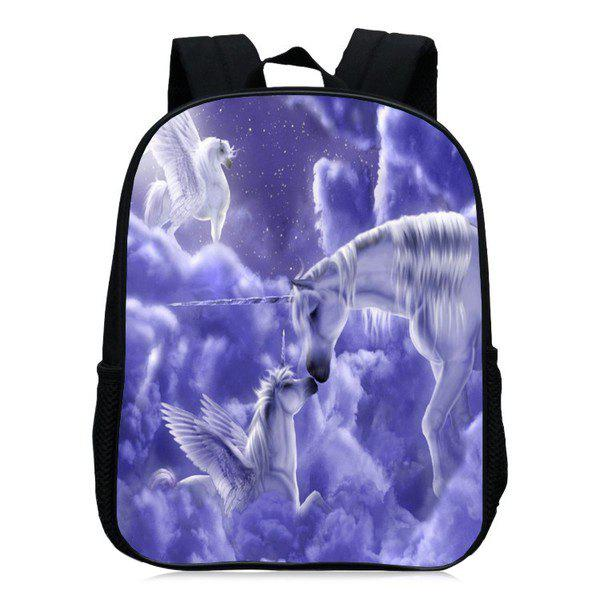 Unicorn Printed School Backpack - Pourpre