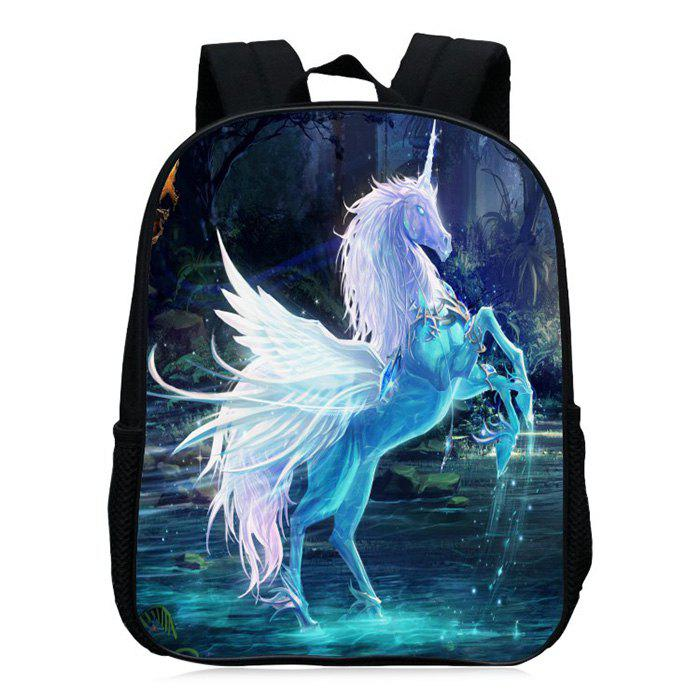 Unicorn Printed School Backpack - BLUE VIOLET