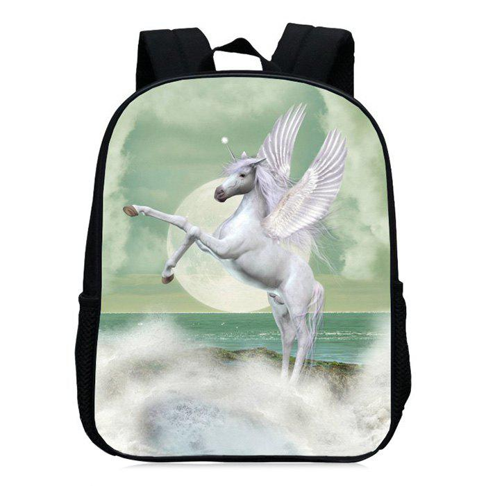 Unicorn Printed School Backpack - Vert clair