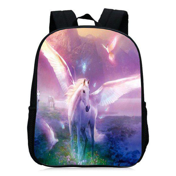 Unicorn Printed School Backpack - Pourpre Rosé