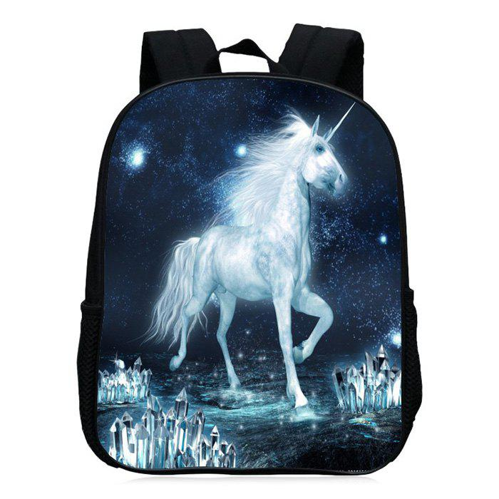 Unicorn Printed School Backpack - Blanc