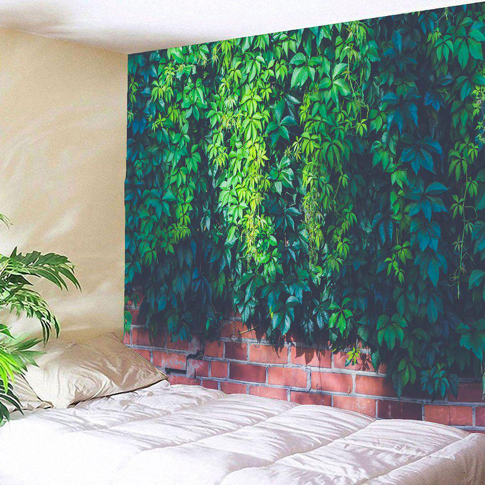 Waterproof Leaf Brick Print Wall Tapestry - GREEN W59 INCH * L51 INCH
