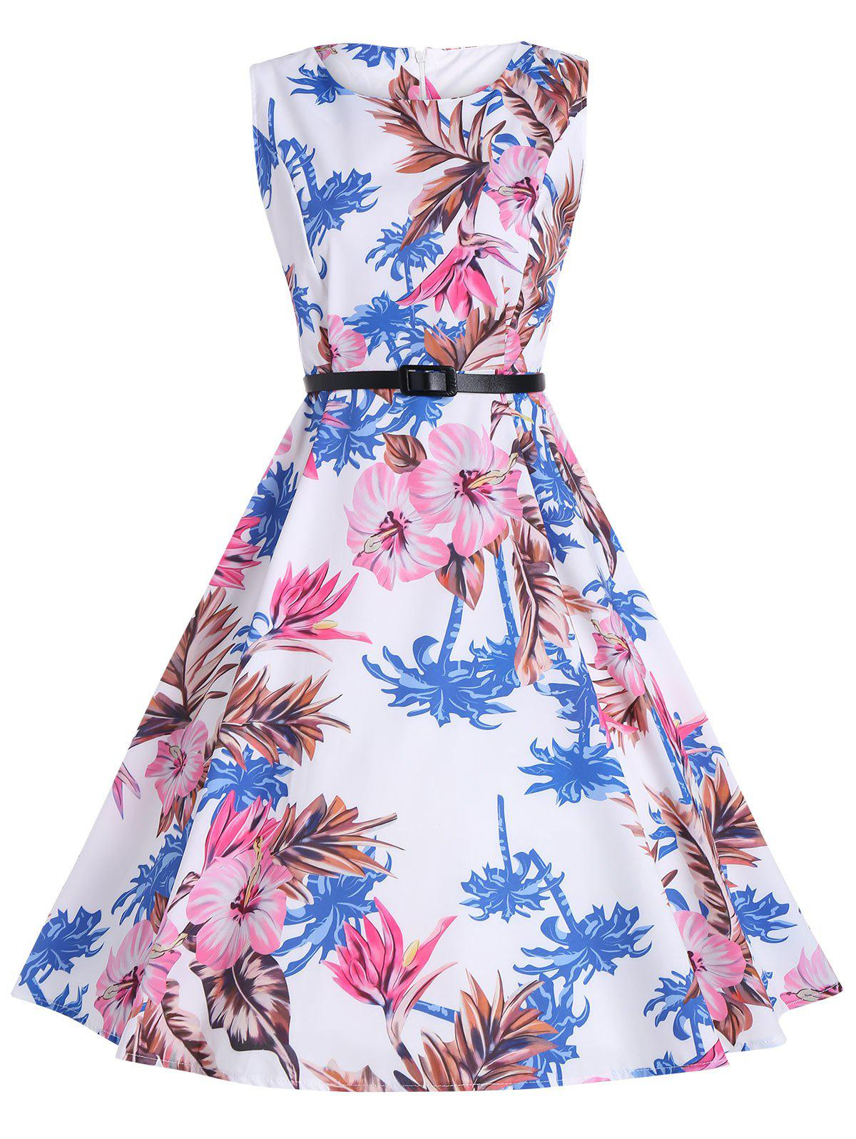 Print Knee Length Vintage Party Dress - WHITE M