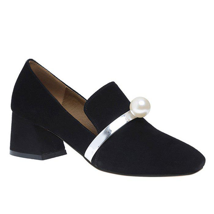 Block Heel Faux Pearl Square Toe Pumps - BLACK 38