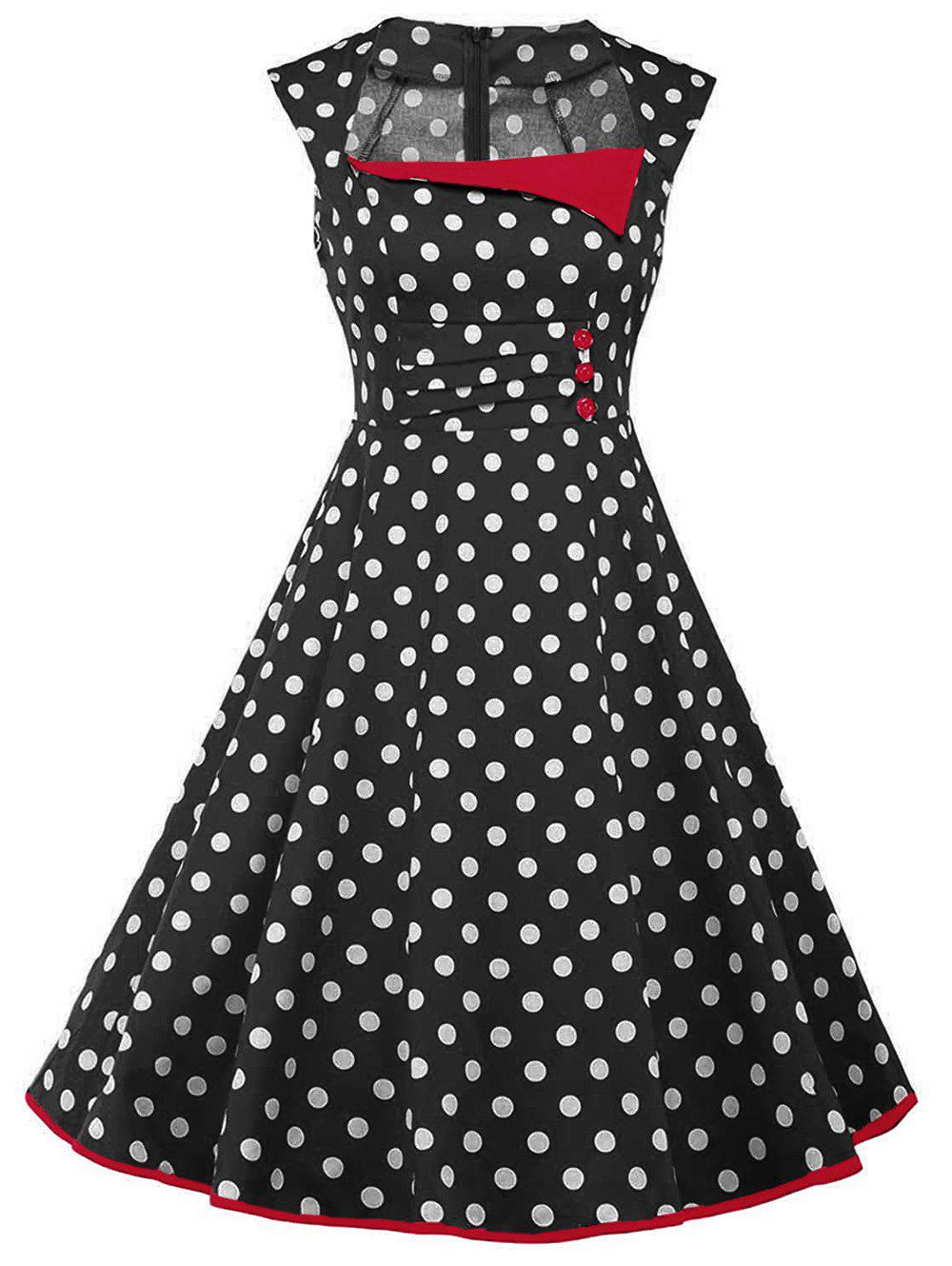Vintage Polka Dot Sleeveless Dress with Buttons - BLACK S