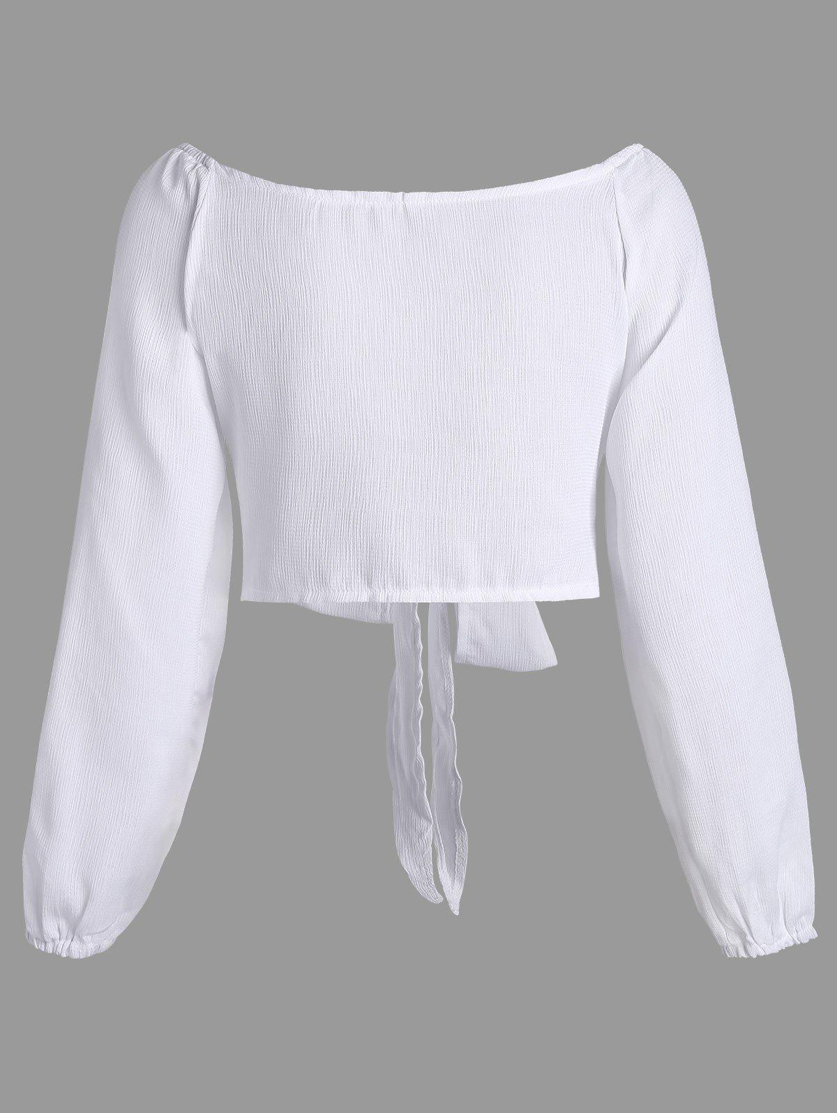 Long Sleeve Self Tie Crop Top - WHITE L