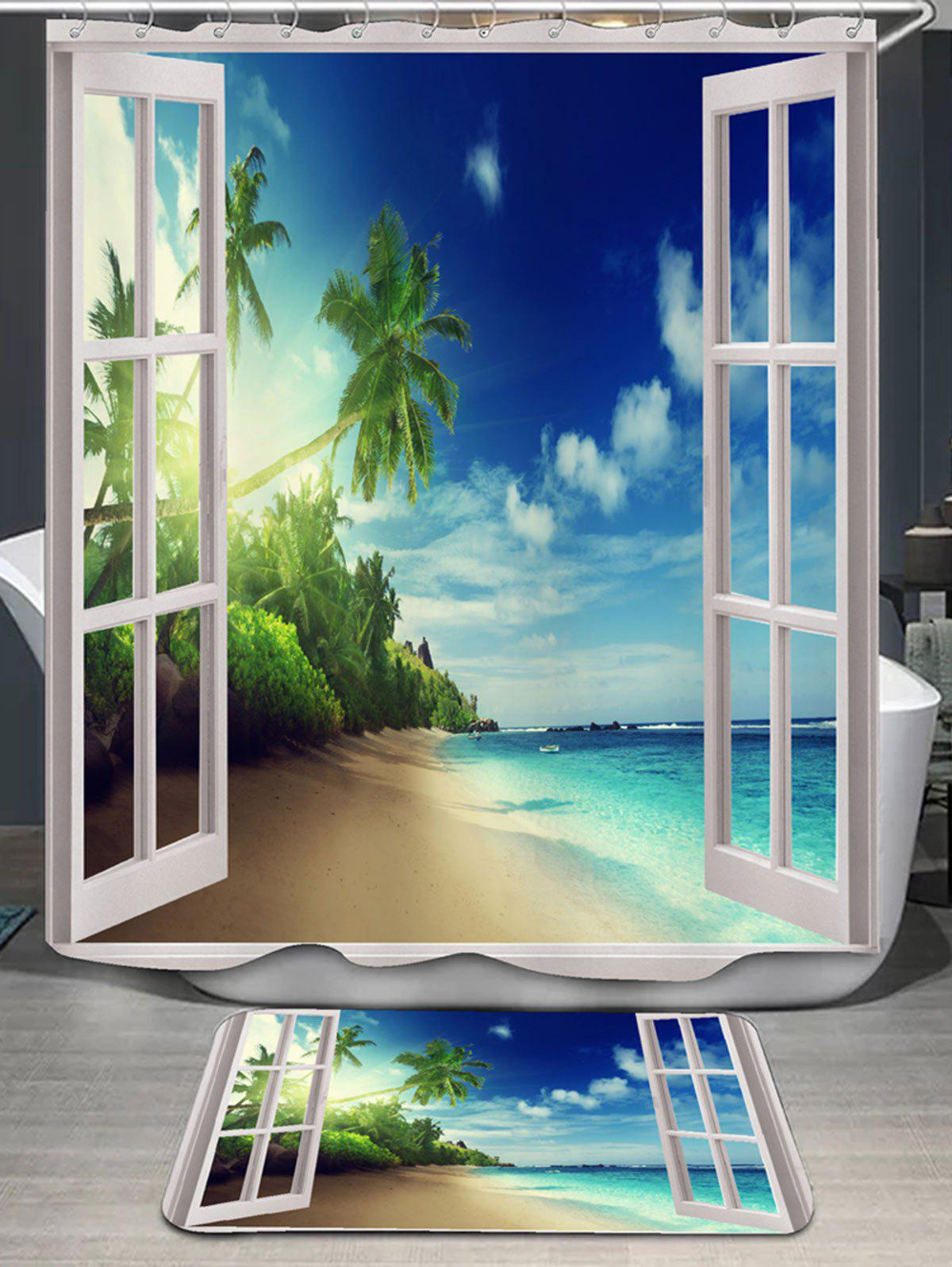 Coconut Palm Window Scenery Shower Curtain and Rug шлифовальная машина black decker kg1202k