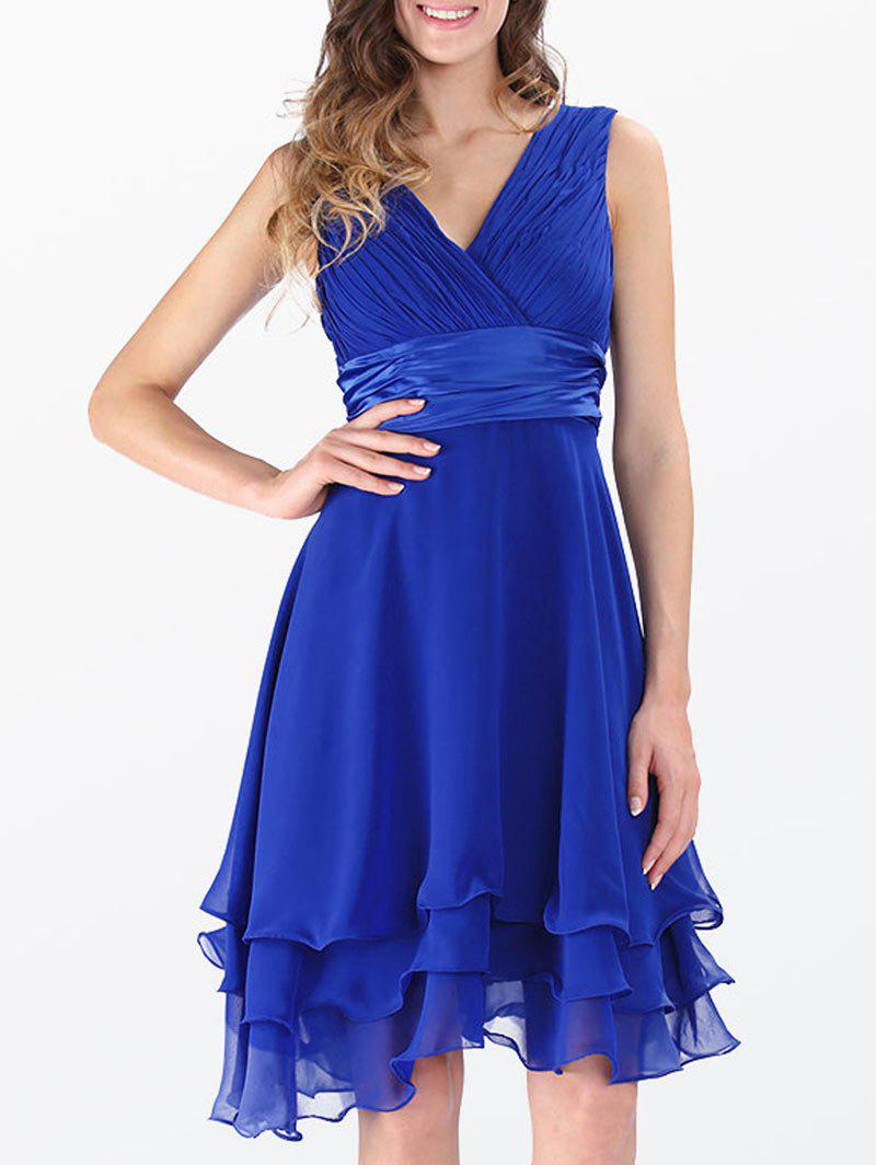 Sleeveless Layered Empire Waist Surplice Chiffon Dress - ROYAL XL