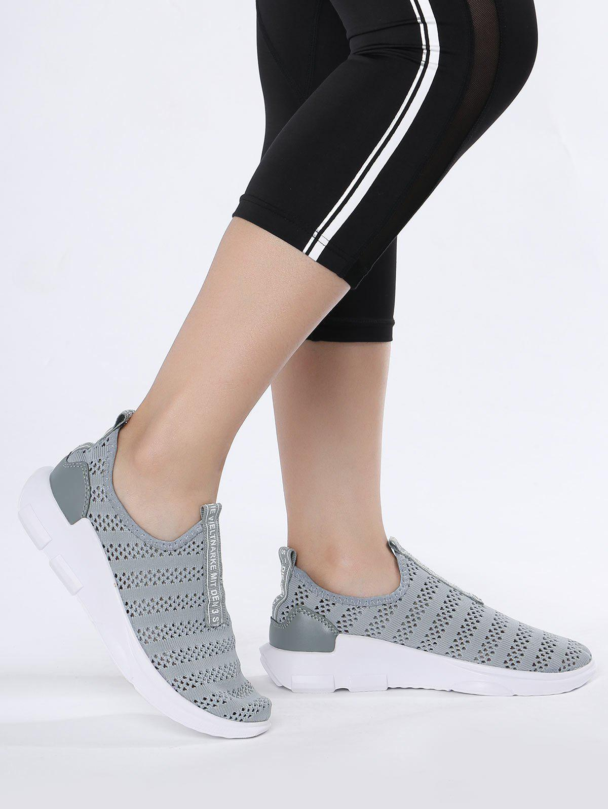 Mesh Letter Pattern Athletic Shoes - GRAY 38