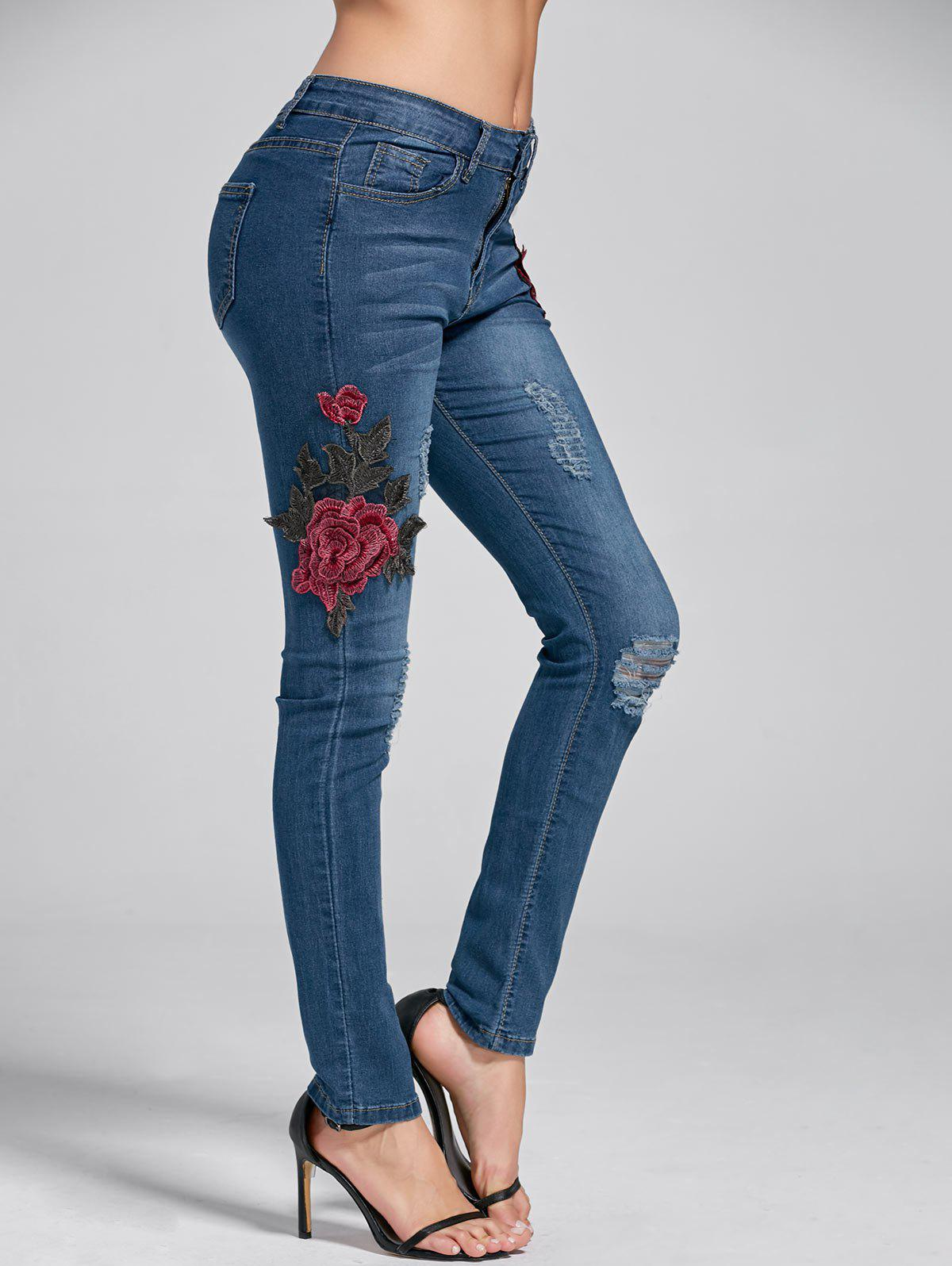Embroidery Skinny Ripped Jeans romoss sailing 2