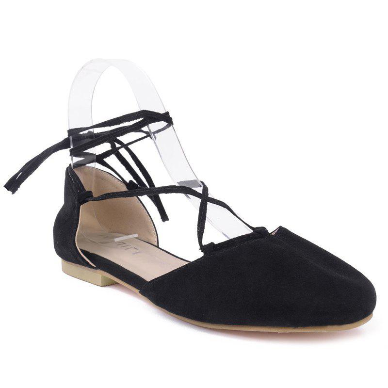 Round Toe Tie Up Flat Shoes - BLACK 40