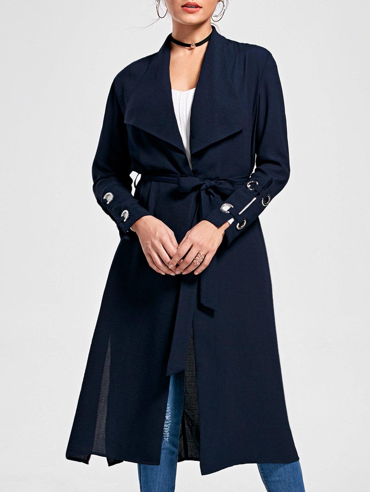 Belted Waterfall Trench Coat - PURPLISH BLUE XL