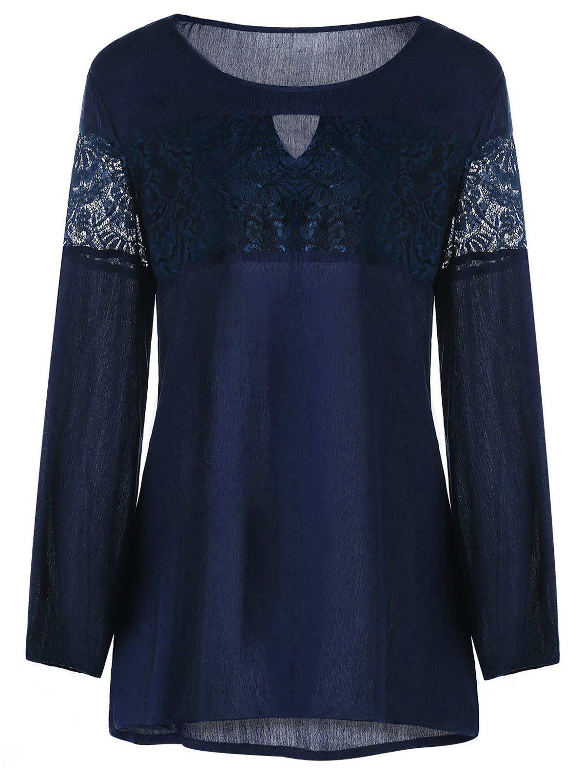 Plus Size Lace Insert Keyhole Neck Blouse - PURPLISH BLUE XL
