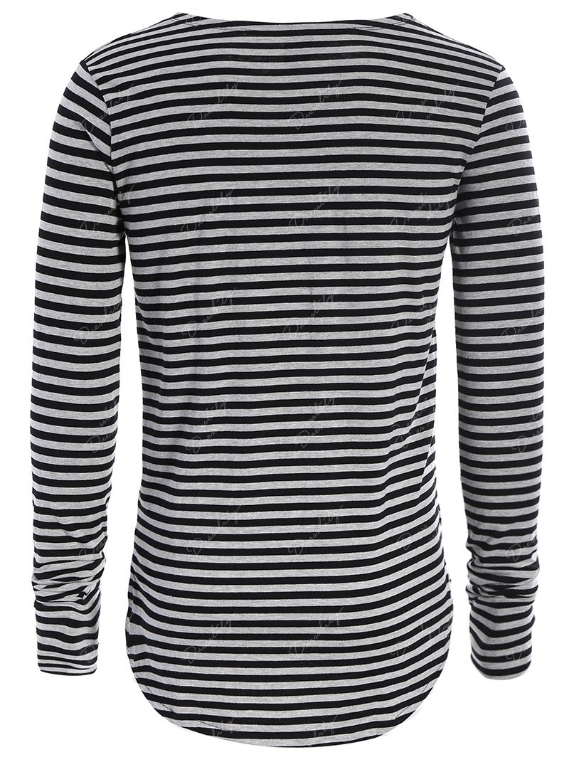 Long Sleeve Striped Mens Top - BLACK/GREY M