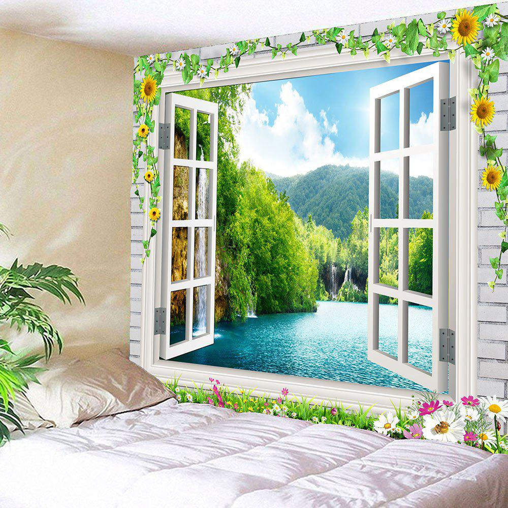 Faux Window Floral Landscape Waterproof Tapestry cogo 13351 military building block sets armoured fighter helicopter 400pcs educational diy bricks toys