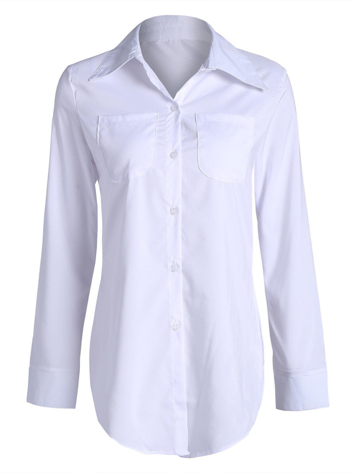 Button Up Double Pockets Long Shirt - WHITE XL