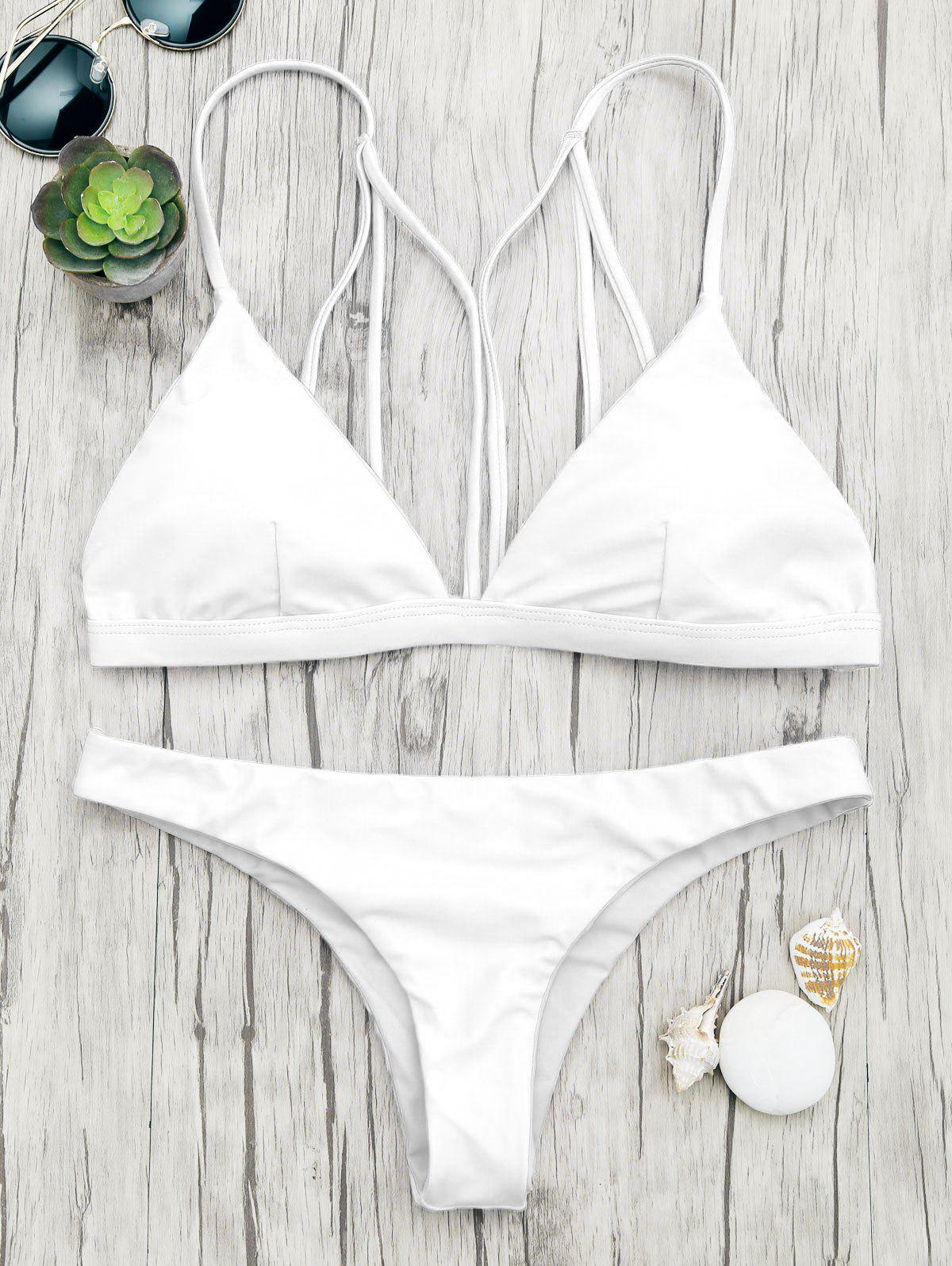 Back Strappy Padded Bathing Suit - WHITE L