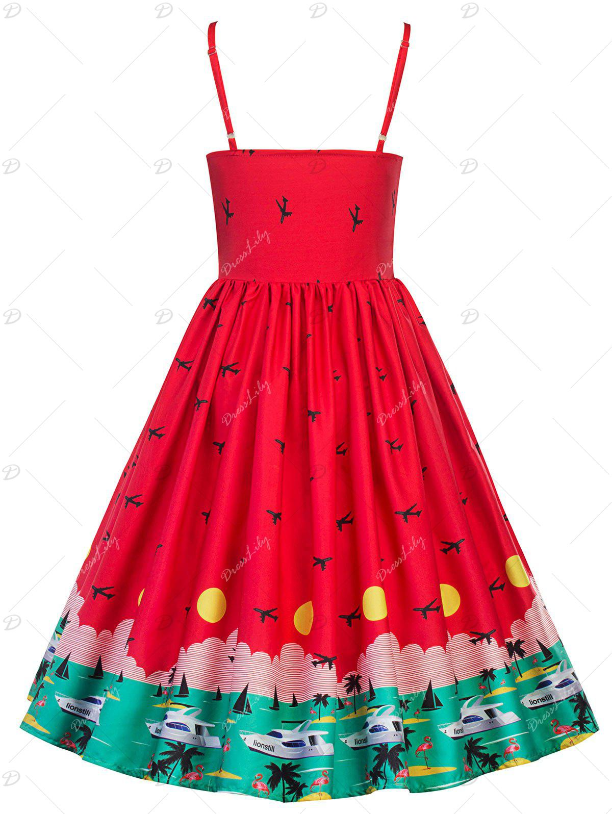 Vintage Watermelon Swing Pin Up Dress - RED 2XL