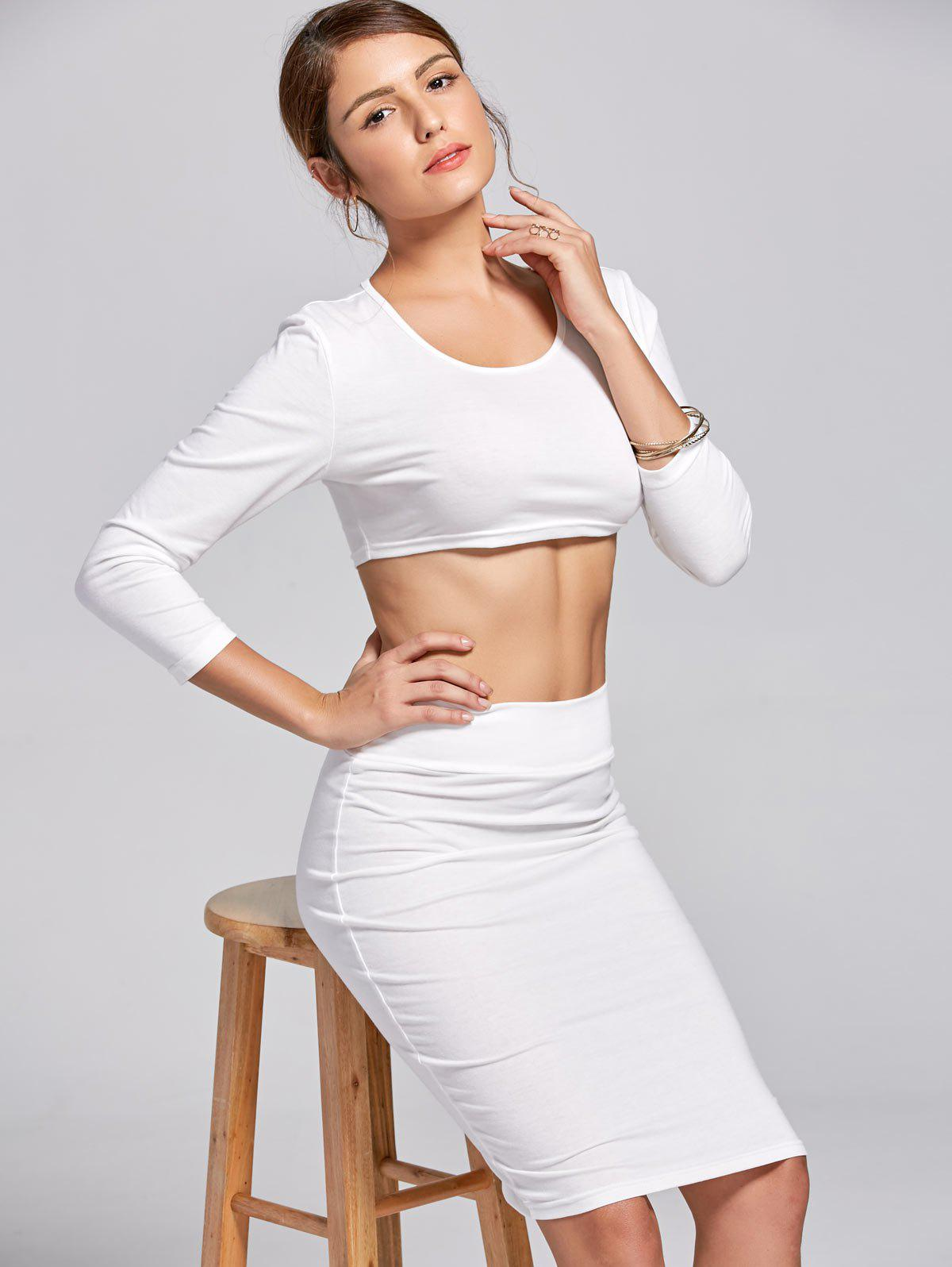 Stylish Women's Scoop Neck Long Sleeve Solid Color Crop Top and Skirt Suit - WHITE M