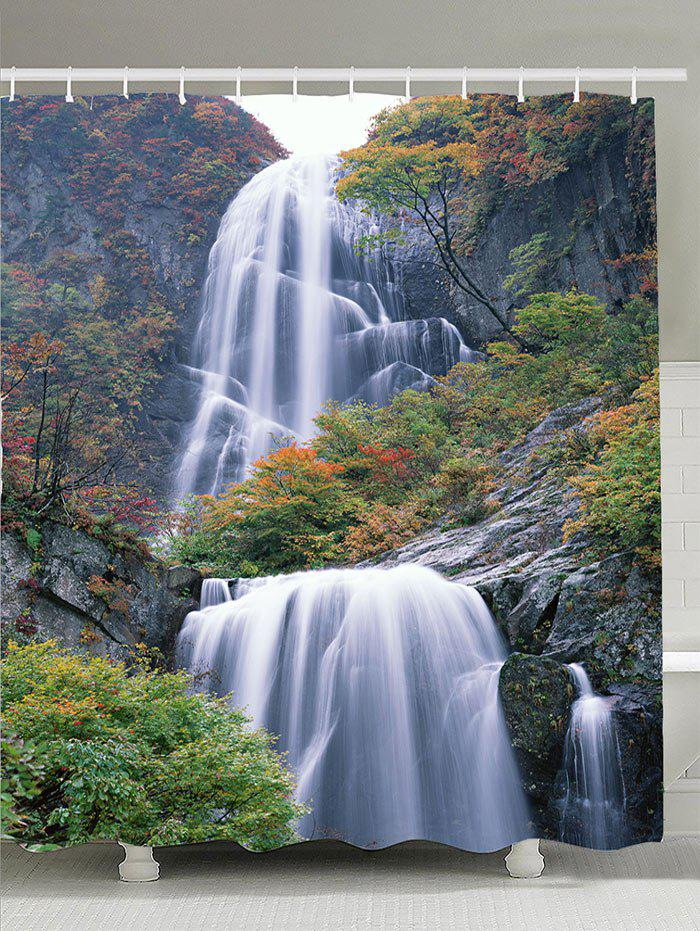 Waterfall Maple Trees Waterproof Bathroom Shower Curtain bamboo trees waterproof shower curtain