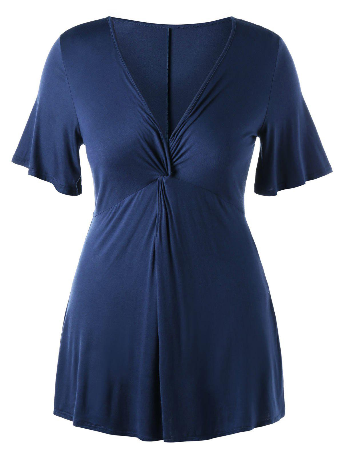 Top tunique avant Twist taille grand - Bleu Cadette 2XL