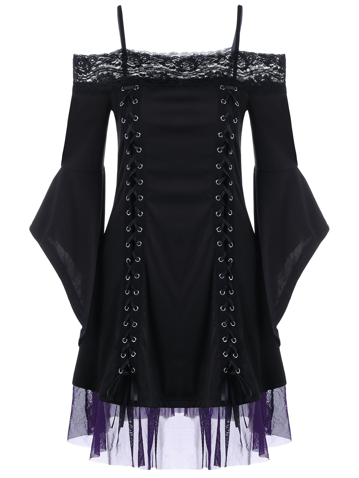 Bell Sleeve Lace Insert Mini Party Dress - BLACK 2XL