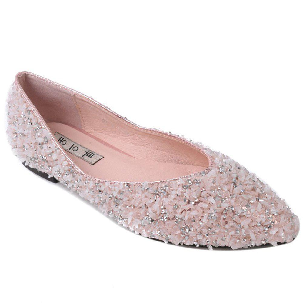 Pointed Toe Rhinestones Flat Shoes - PINK 40