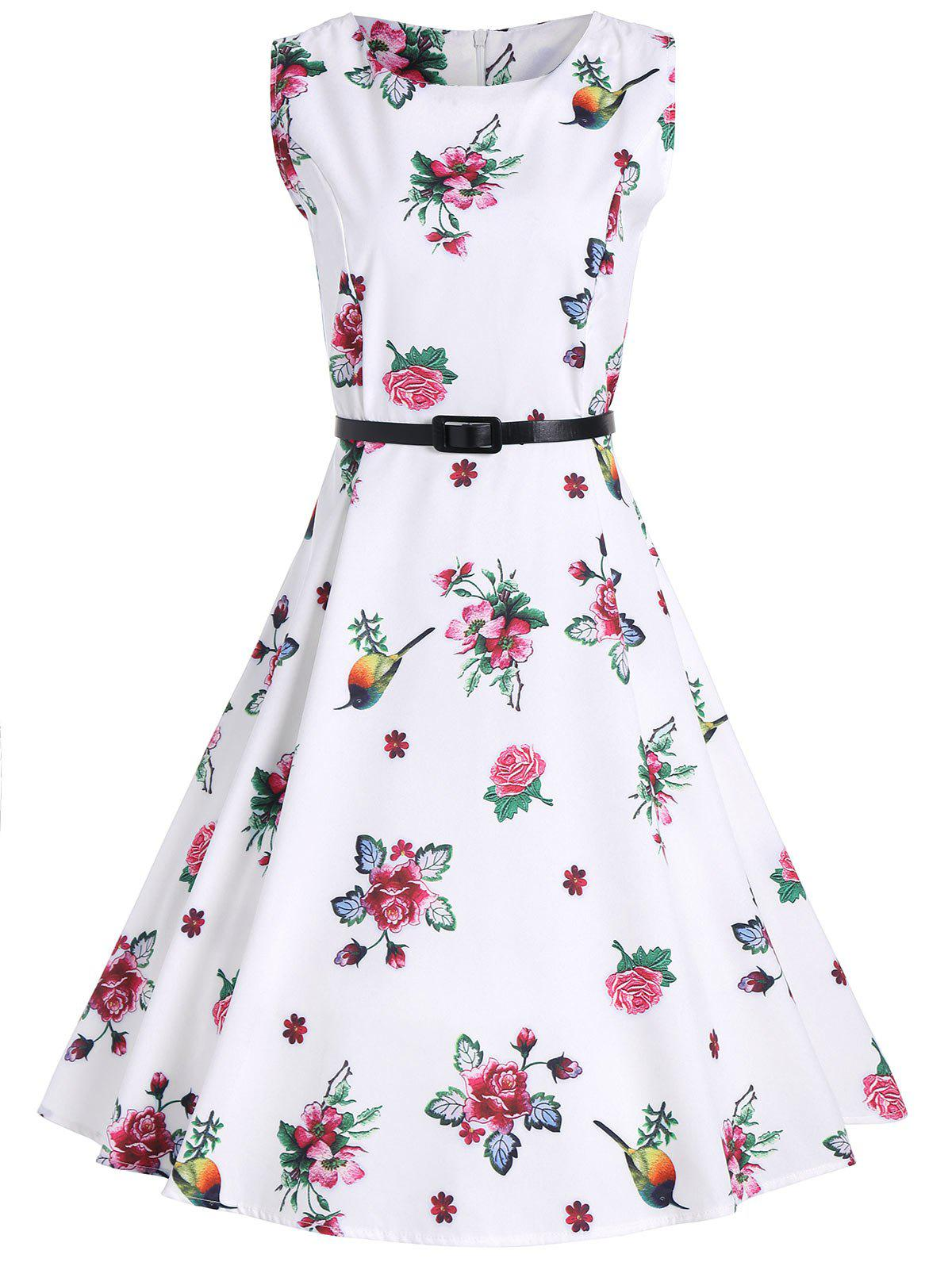 A Line Floral Vintage Dress with Belt - WHITE XL