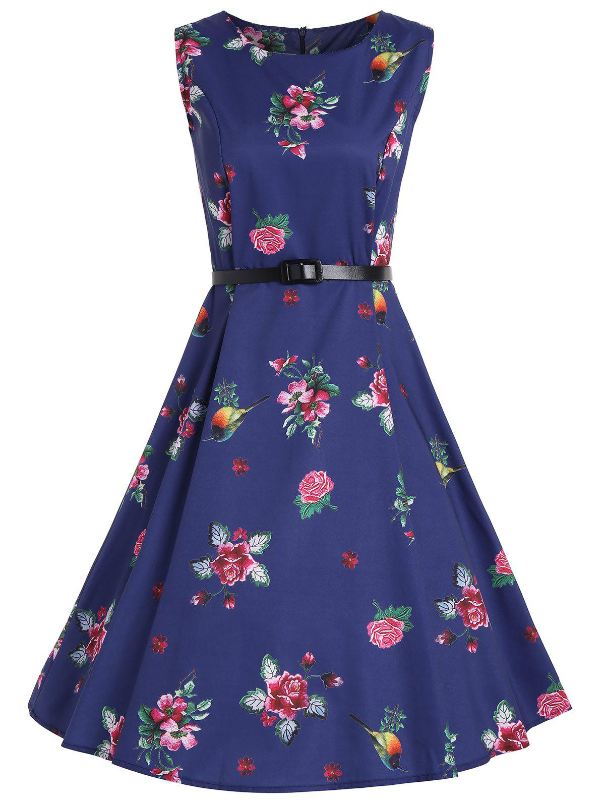 A Line Floral Vintage Dress with Belt - BLUE 2XL