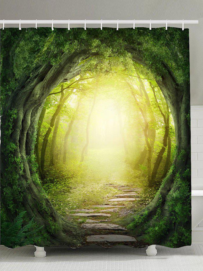 Tree Hole Pathway Sunlight Waterproof Shower Curtain beach palm tree waterproof anti bacteria shower curtain