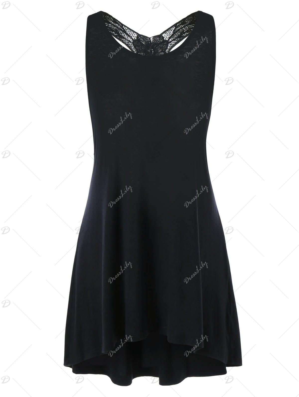 Racerback Lace Trim Tunic Top - BLACK M