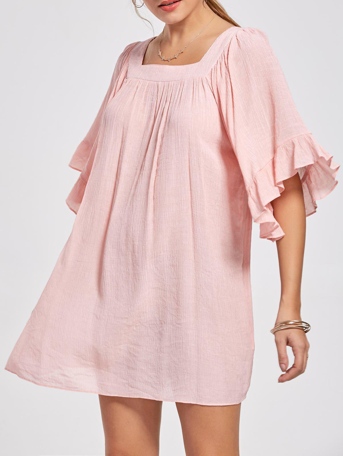 Square Collar Bell Sleeve Mini Dress - LIGHT PINK S