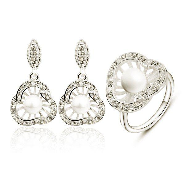 Artificial Pearl Rhinestoned Earring with Ring Set artificial pearl rhinestone flower stud earring set