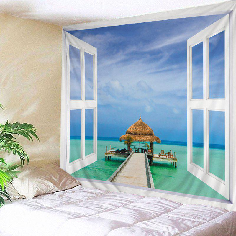 Wall Hanging Art Window Sea View Print Tapestry - WHITE W79 INCH * L59 INCH