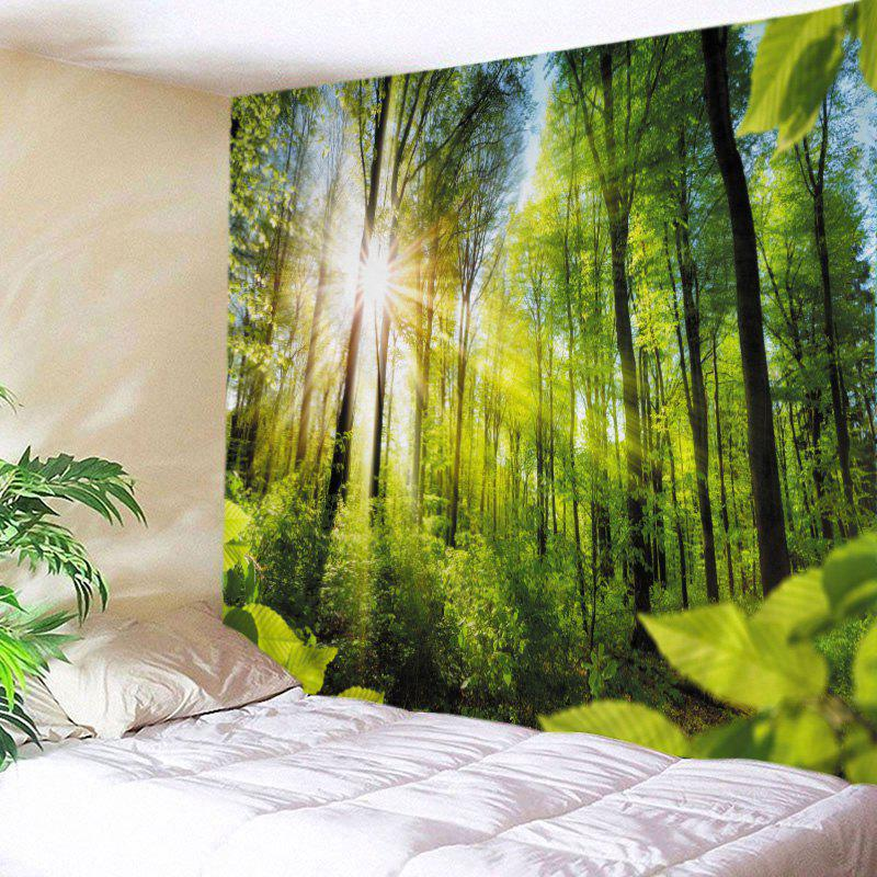 Sunshine Forest Print Tapestry Wall Hanging Art forest river unicorn print tapestry wall hanging art