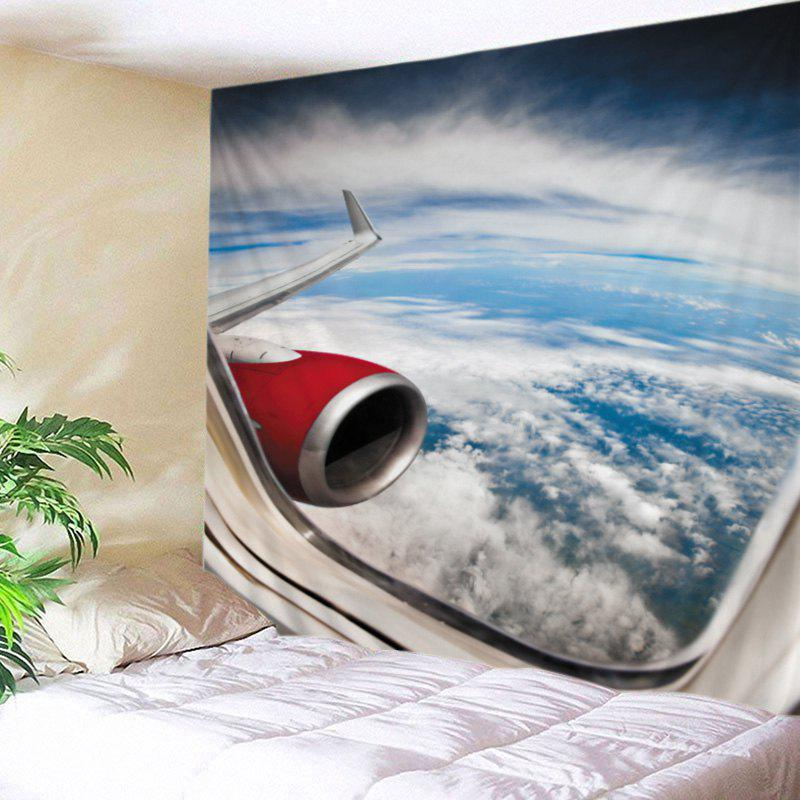 Airplane Window View Print Tapestry Wall Hanging Art, White