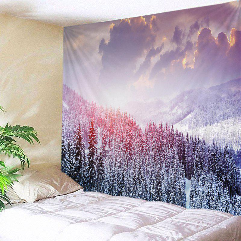 Mountain Snow Print Tapestry Wall Hanging Art - Blanc W59 INCH * L51 INCH