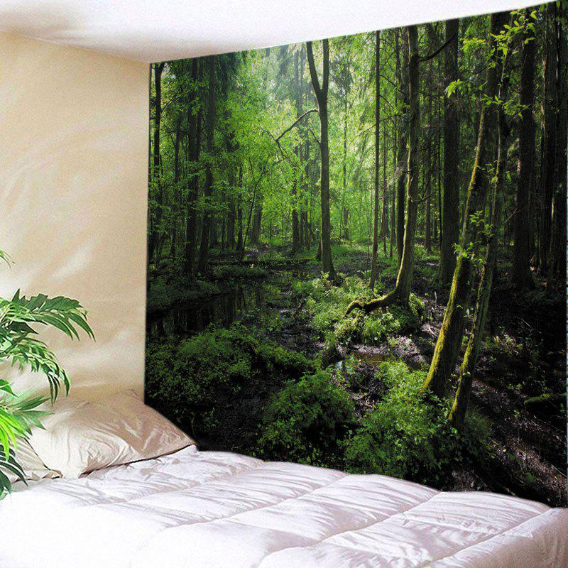 Forest Trees Print Tapestry Wall Hanging Art - GREEN W91 INCH * L71 INCH