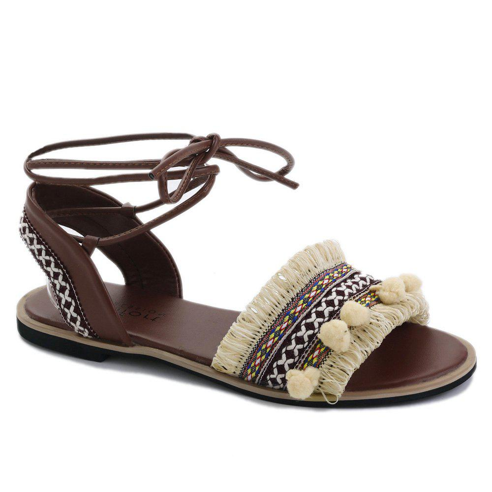Flat Fringe Pom Pom Lace-up Sandals - APRICOT 38
