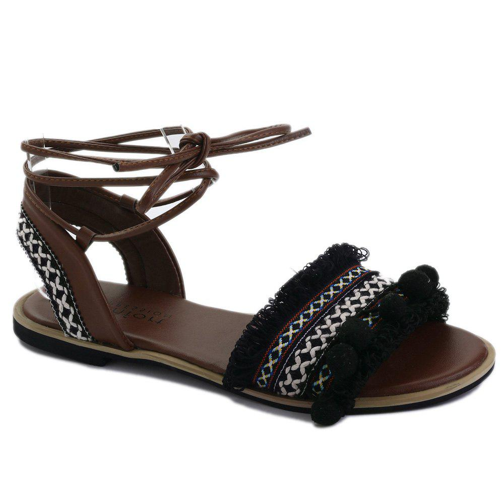 Flat Fringe Pom Pom Lace-up Sandals - BLACK 38