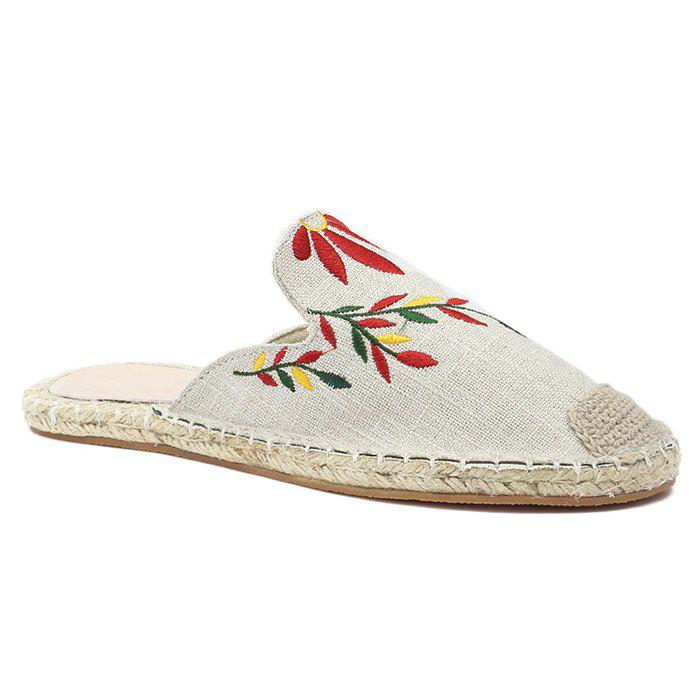 Braided Toe Cap Embroidered Espadrille Mules - BEIGE 37