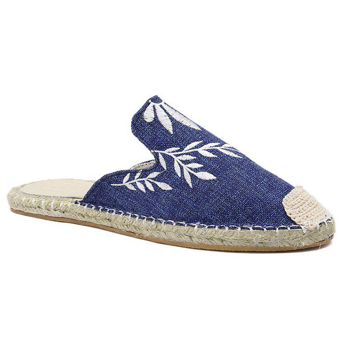 Braided Toe Cap Embroidered Espadrille Mules - BLUE 37